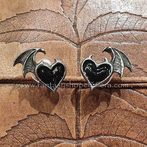 black soul ear studs oorstekers heart hart vleermuis vleugel bat wing