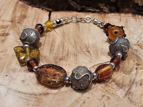 silver beads bracelet oker amber butterfly glass zilveren armband vlinder kralen