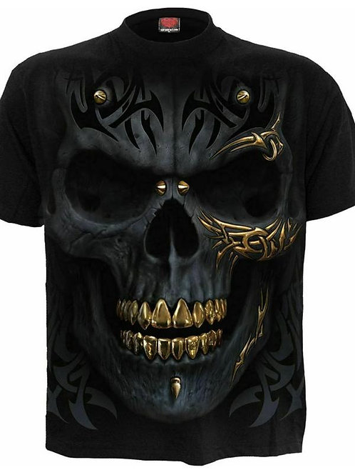 black and gold skull tshirt spiral zwart goud schedel