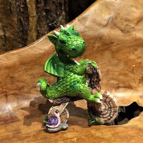 freddie dragon on a bike figurine draak op fiets motor