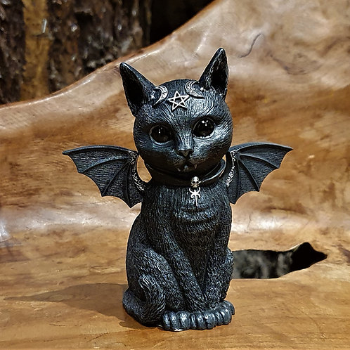 malpus wicca black cat pentagram figurine zwarte kat heksje beeldje