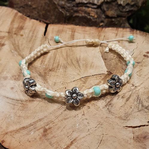 boho silver flower bracelet slide knot fantasy jewelry sieraden armband macrame boheems
