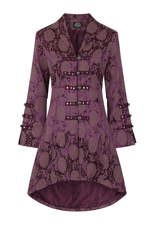 purple brocade victorian gothic coat satijn brokaat victoriaans jas zomerjas paars