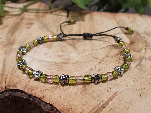 Lime pink Flower stacking bracelet