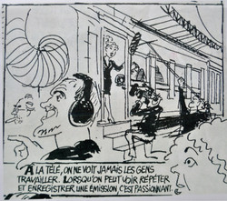 Caricature de Cabu, tournage du Train