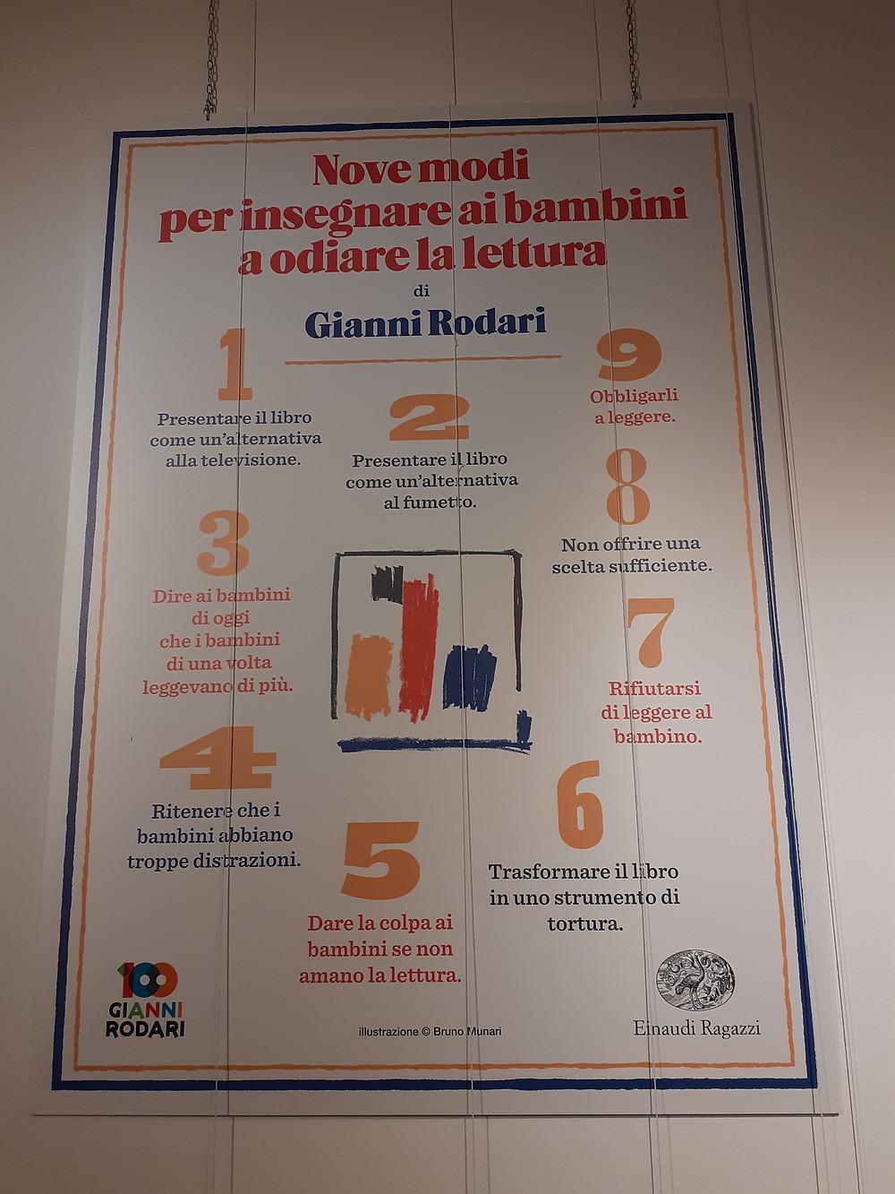 Quadro de Gianni Rodari com 9 formas de ensinar as crianças a odiarem a leitura