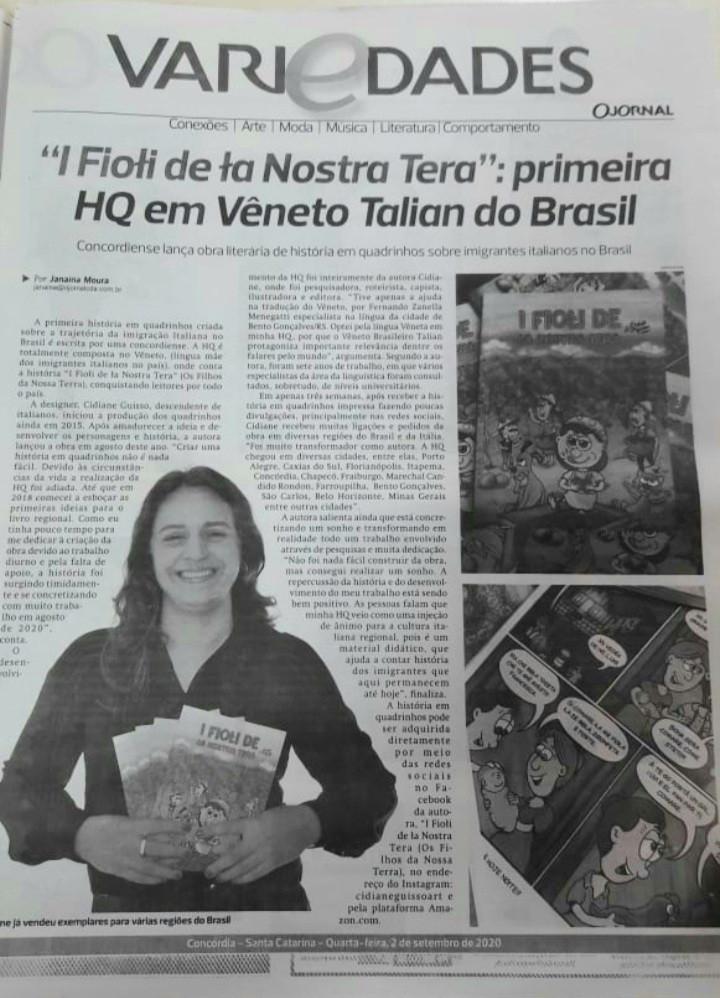 Divulgação do trabalho em O Jornal, Concórdia (02-09-20)