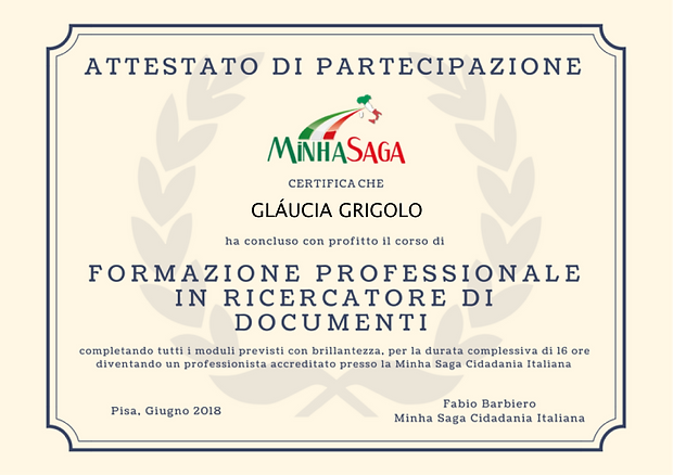 Certificado profissional Busca de Documentos