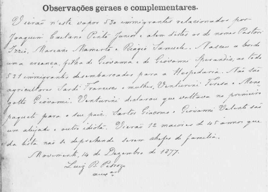 Observações complementares sobre os passageiros do Vapor Henri IV