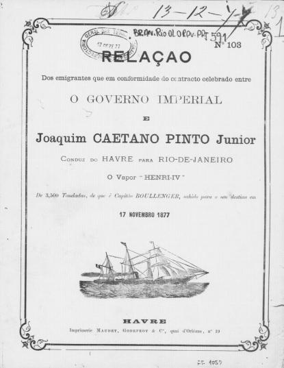 Relação de passageiros - Vapor Henri IV - Contrato Caetano Pinto