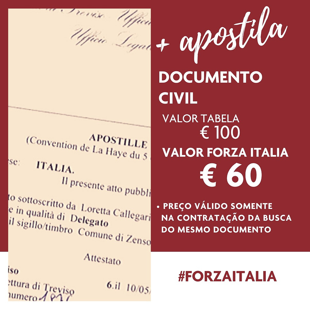 Apostilamento documento civil