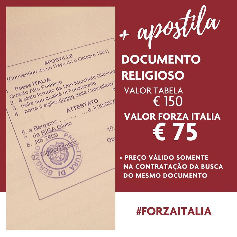 Apostilamento documento religioso