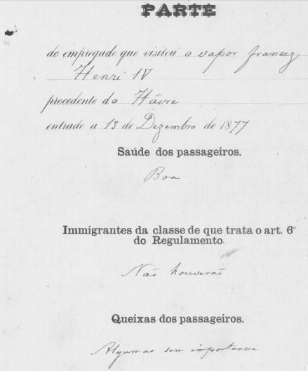 Informações sobre a saúde e queixas dos passageiros - Vapor Henri IV