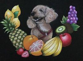 チョークアート・ペット犬作品:Amerinちゃん