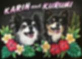 チョークアート・ペット犬作品:Kurumi&Karinちゃん