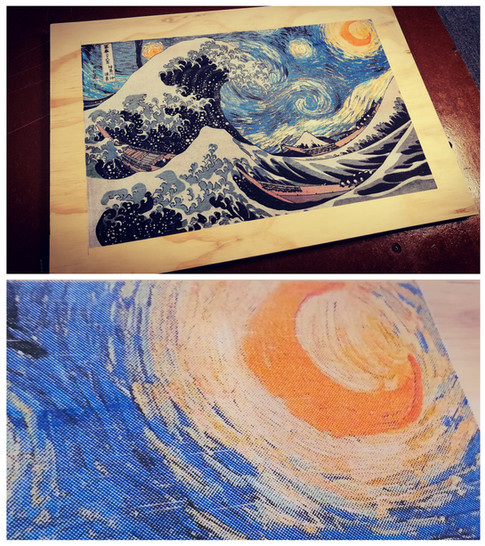 This is a gift that I made for my wife for Christmas. It is two of our favorite pieces of artwork combined, Starry Night (hers) and The Great Wave (mine).  While it is not my original art, this was still quite a project! Seven color simulated process screen printing on plywood.