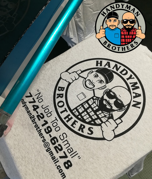 Lucas from Handyman Brothers commissioned us for the logo design and shirt printing.  The image inset is the full color design, and the actual shirt print.  Thanks Lucas!