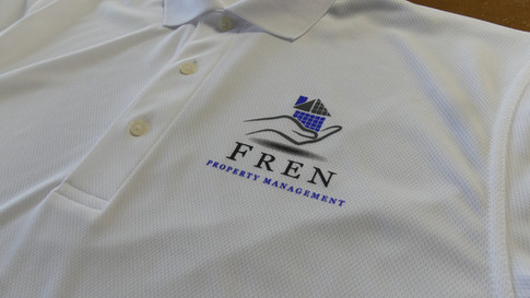 This print is a redraw from a customer supplied image.  These performance polos were screen printed with three colors.