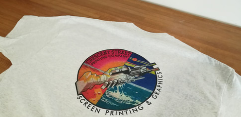 I made some cool shirts from an image on one of the best albums ever. The printing is four color process. The four ink colors blend together on the shirt to form many more colors.