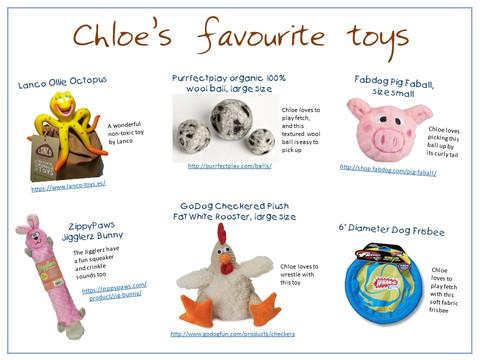 Chloe's favourite toys