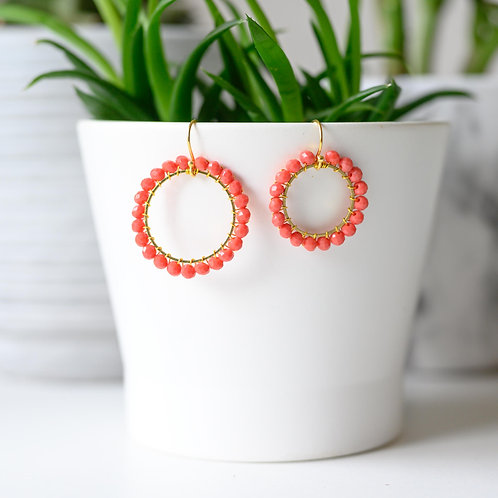 Coral Round Beaded Earrings