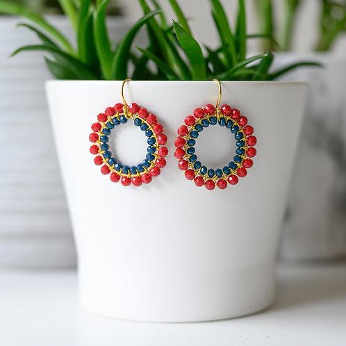 Ruby Red & Midnight Blue Double Beaded Round Earrings
