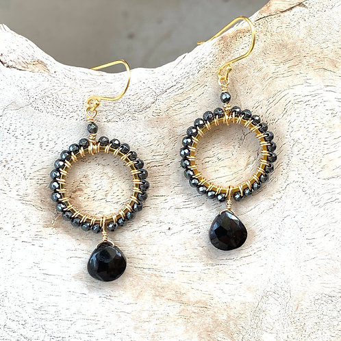Hematite with Onyx Round Drop Earrings
