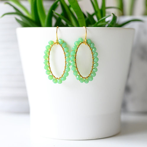 Mint Green Oval Earrings