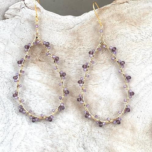 Amethyst & Crystal Wrapped Teardrop Earrings