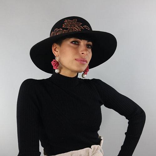 Italian Black Leaf 100% Wool Hat