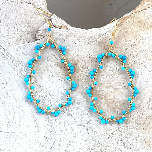 Turquoise Wrapped Teardrop Earrings