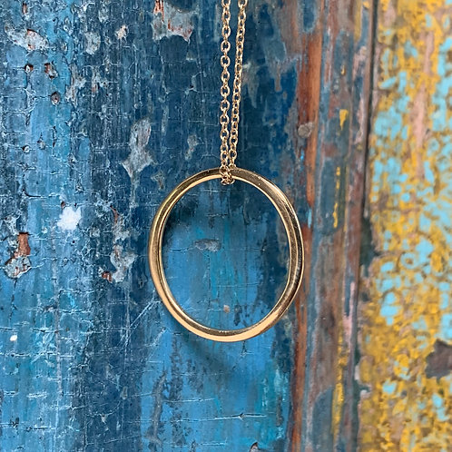 Circle of Life on Thin Chain Necklace - Gold