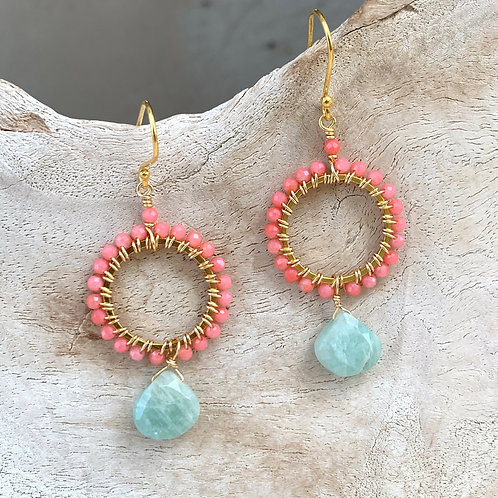 Coral with Amazonite Round Drop Earrings