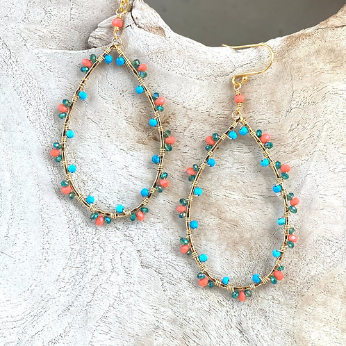 Coral, Turquoise & Green Wrapped Teardrop Earrings