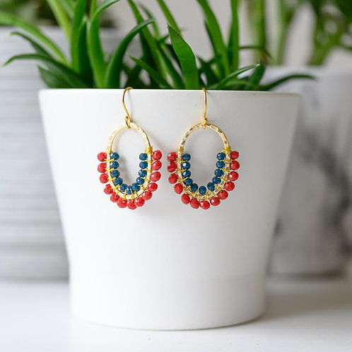Ruby Red & Oxford Blue Double Beaded 3/4 Oval Earrings
