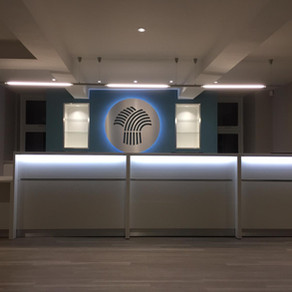 Feature lighting for a Dentist Reception revamp from the VIS Electrical team