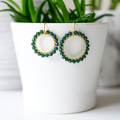 Emerald Green Round Beaded Earrings