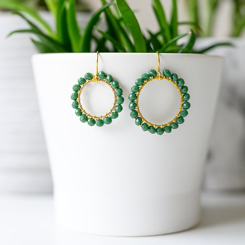Evergreen Round Beaded Earrings