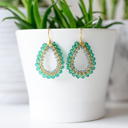Teal & Translucent Double Beaded Teardrop Earrings
