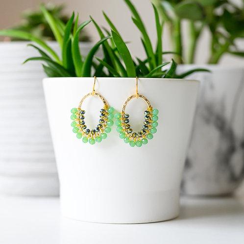 Mint Green & Petrol Double Beaded 3/4 Oval Earrings