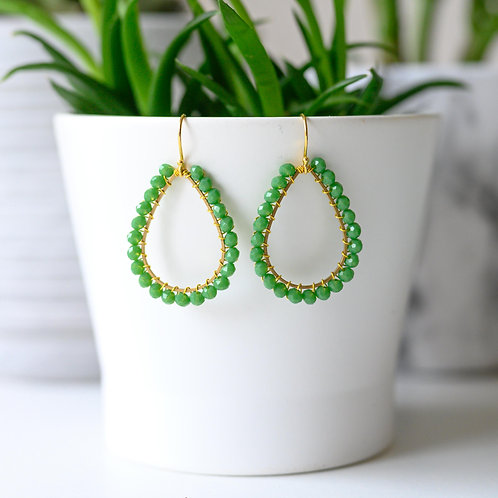 Grass Green Teardrop Beaded Earrings