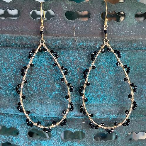 Onyx Wrapped Teardrop Earrings