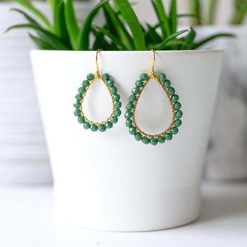 Evergreen Teardrop Beaded Earrings