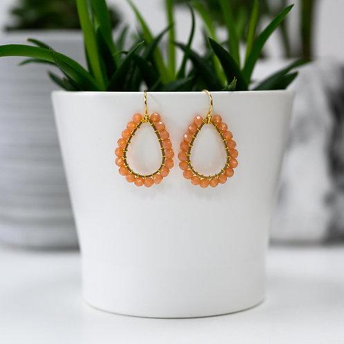 Apricot Teardrop Beaded Earrings