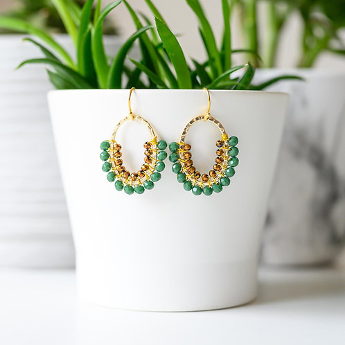 Evergreen & Bronze Double Beaded 3/4 Oval Earrings