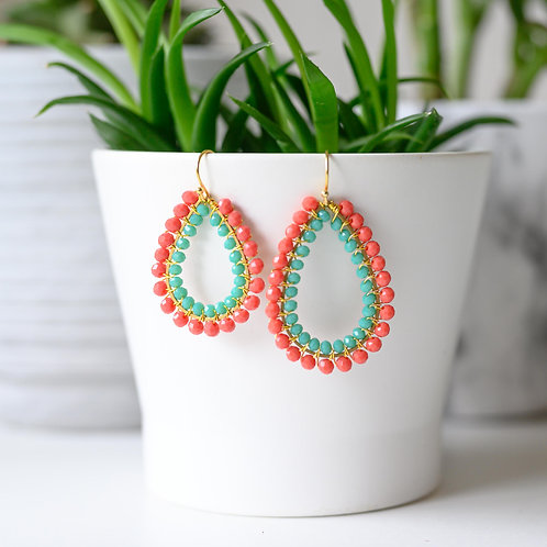 Coral & Turquoise Double Beaded Teardrop Earrings