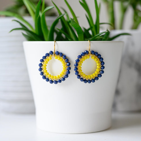 Oxford Blue & Yellow Double Beaded Round Earrings