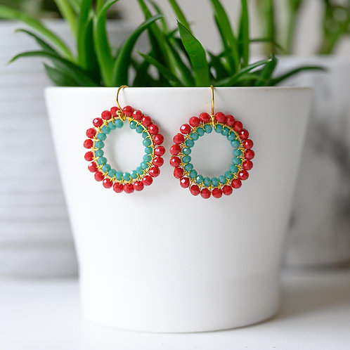 Ruby Red & Turquoise Double Beaded Round Earrings