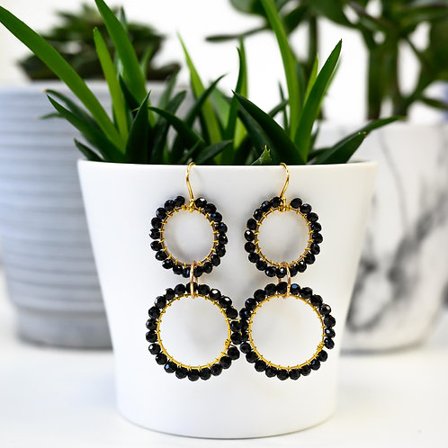 Black Double Linked Round Beaded Earrings