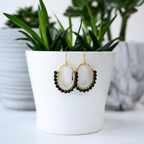 Black 3/4 Oval Earrings